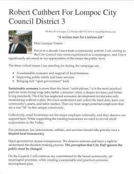 Vote Cuthbert City Council 2018 District 3-1